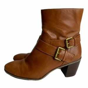 Anne Klein Brown Strap Ankle Zip Boots